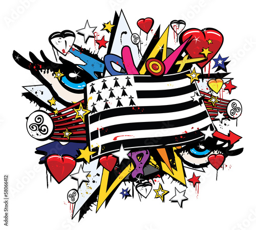 Drapeau Bretagne Breizh graffiti tag pop art illustration