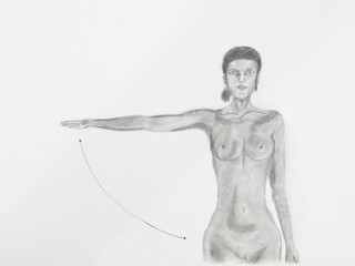 women naked with arm up