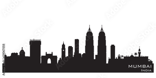 Mumbai India city skyline vector silhouette