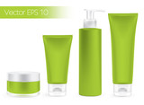 Fototapety Packaging containers green color, package cream, Beauty product