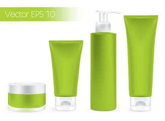 Packaging containers green color, package cream, Beauty product