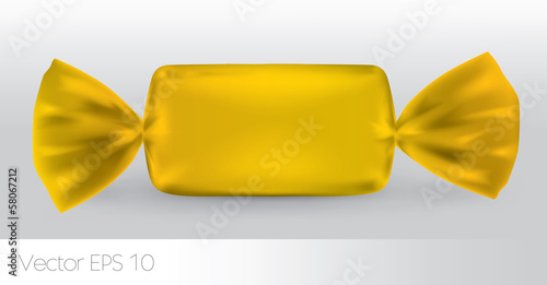 Yellow rectangular candy package for new design