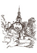 Vector drawing of a church on the island in lake Bled in Sloveni