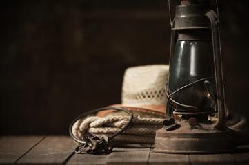 Kerosene lamp on the table in the barn