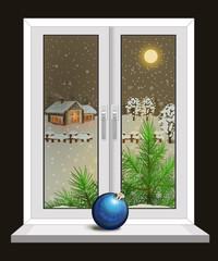 Новогоднее  ночное окно. Векторная иллюстрация