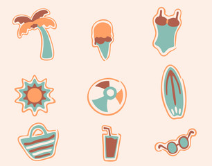 retro beach icons set 2