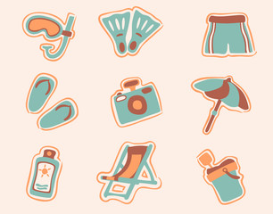 retro beach icons set 1
