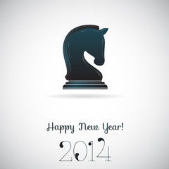 Vector greeting card - chess horse 2014