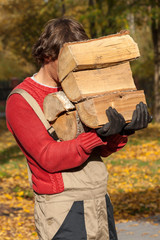 Young worker holding a stack of firewood