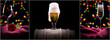 beer, wine, champagne on black