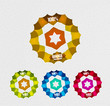 Vector transparent badges colorful set