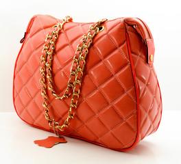Women's leather handbag, isolated on white