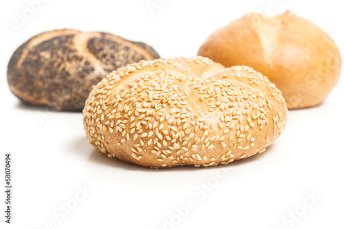 Three bread rolls, isolated cutout