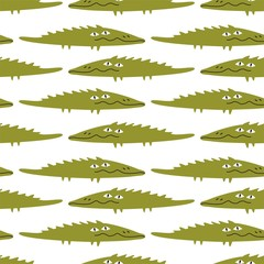 Funny crocodile, seamless pattern