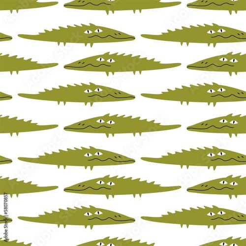 Funny crocodile, seamless pattern