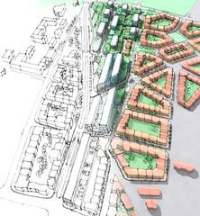 Urban sketch of a housing development