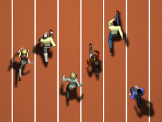 civilians as sprinters on a running track