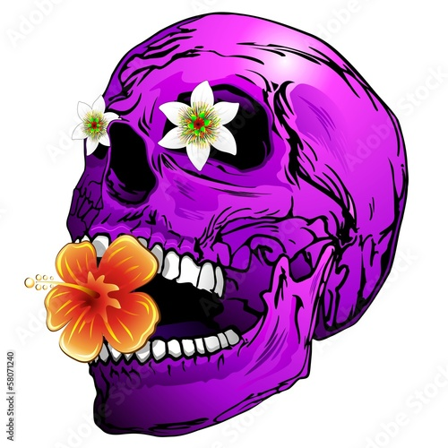 Purple Skull with Tropical Flowers-Teschio Viola con Fiori