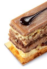 Beautiful tasty chocolate cakes close up shoot