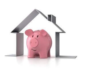 Sparschwein mit Symbolhaus 2