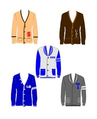varsity sweaters in various styles and colors