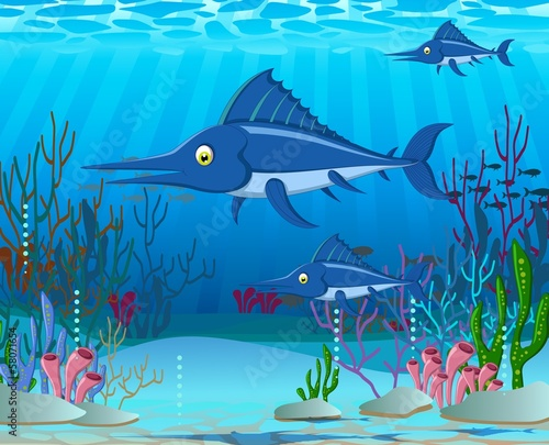 marlin cartoon with sea life background