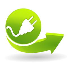 électricité sur symbole vert