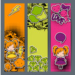 Vertical banners with sticker kawaii doodles.