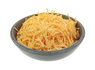 Shredded Cheddar Cheese Dish Angle