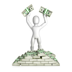 Man is having (win) a lot of US dollars - Isolated