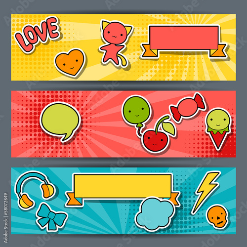 Horizontal banners with sticker kawaii doodles.