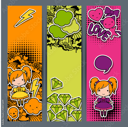 Vertical banners with sticker kawaii doodles.