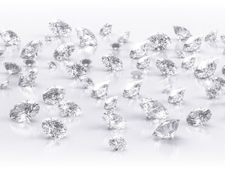 diamonds large group on white background