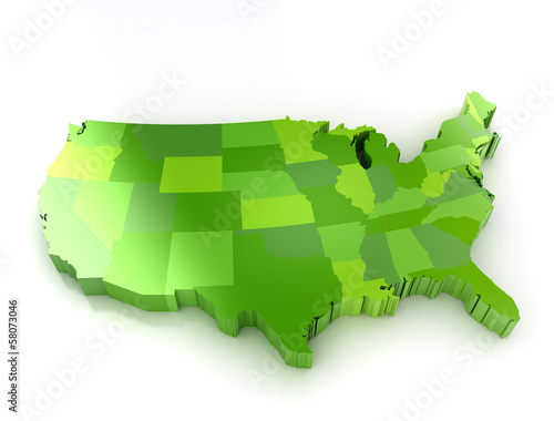 United States of America 3d map
