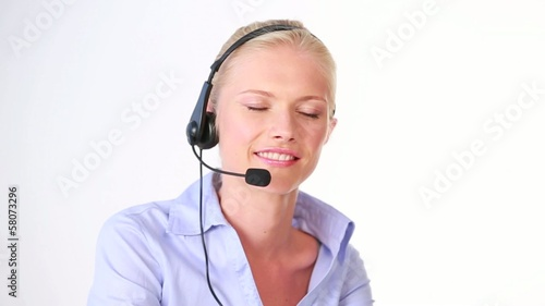 beautiful woman answering call