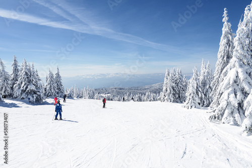 Ski Slope with a beautiful Winter Panorama