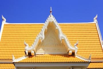 colorful  of  molding   art  on  pediment  of Thai temple