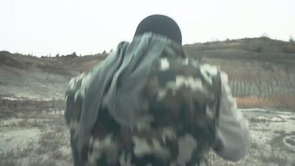 Dangerous Masked Man with Weapon Walking through smoke