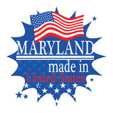 Label with flag and text Made in Maryland, vector