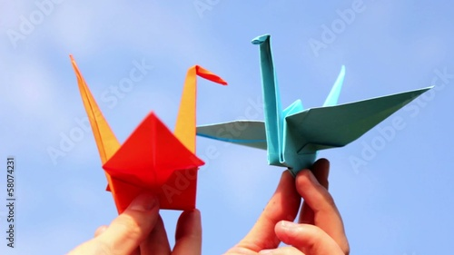 Poster Geometrische dieren Origami, the art of origami