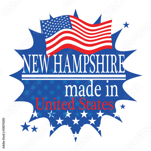 Label with flag and text Made in New Hampshire, vector