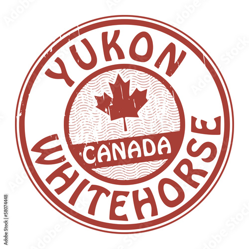 Stamp with name of Canada, Yukon and Whitehorse