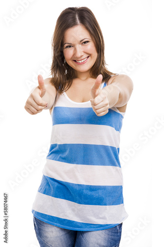 Woman whit thumbs up