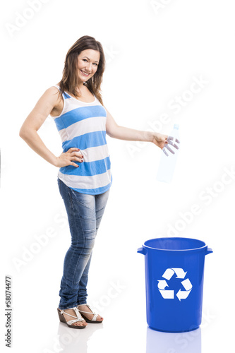 Beautiful young recycling
