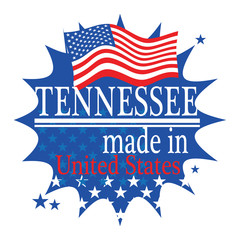 Label with flag and text Made in Tennessee, vector