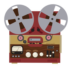 Vintage analog stereo reel to reel tape recorder, vector