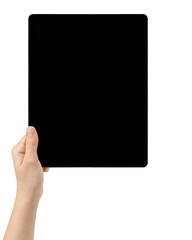 female teen hands holding tablet pc with black screen