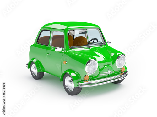 cute retro car green