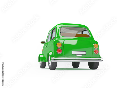 cute retro car green back