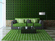 Sofa with green pillows